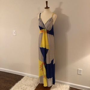 Radzoli Blue & Yellow Sleeveless Maxi SunDress